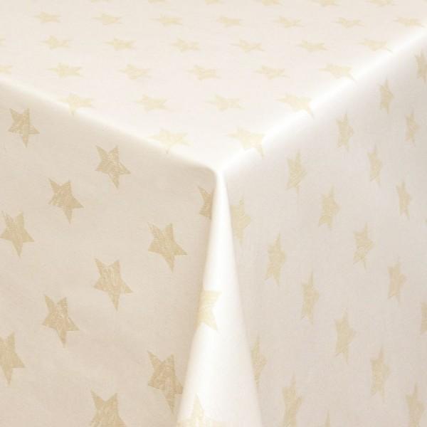 Tischdecken Jacquard-Gewebe mit Fleckschutz und Saum Sterne in Creme