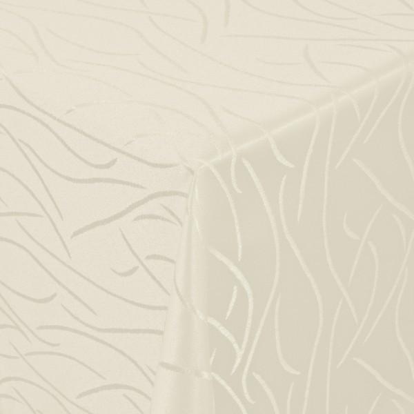 Tischdecken Damast Eckig mit Saum Streifen Creme-Champagner