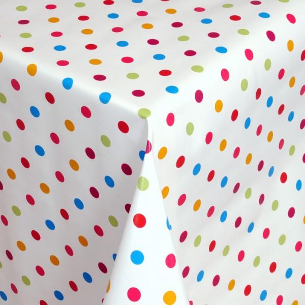 Tischdecke Abwaschbar Wachstuch kunterbunte Punkte im Wunschmaß