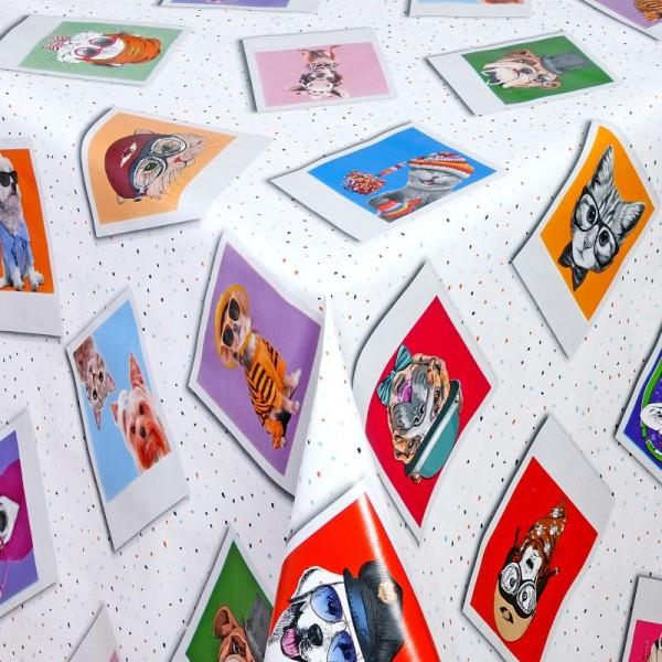 Tischdecke Abwaschbar Wachstuch Polaroid Hunde und Katzen im Wunschmaß