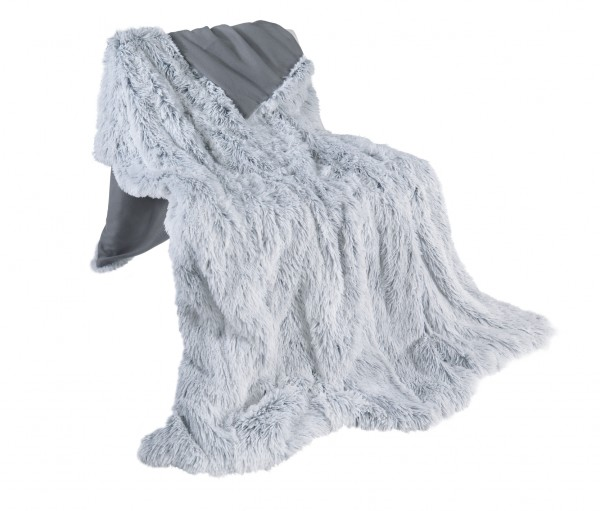 Kuscheldecke Wendedecke Flokati/Fleece Decke 150x200 cm in Grau