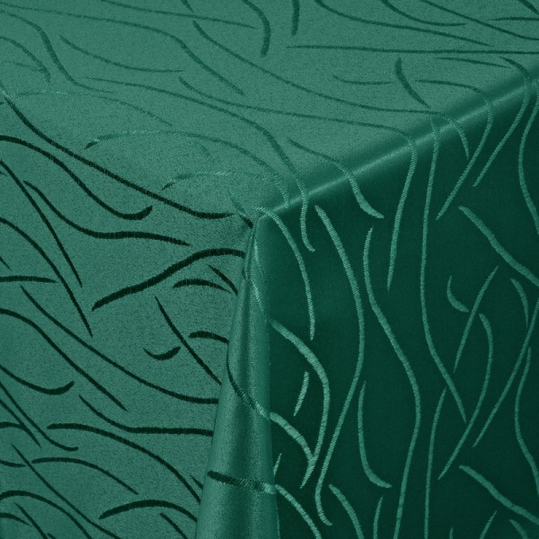 Tischdecken Damast Eckig mit Saum Streifen Dunkel-Grün