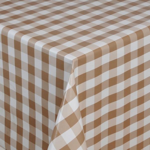 Tischdecke Abwaschbar Wachstuch Quadrate Motiv in Beige Weiss