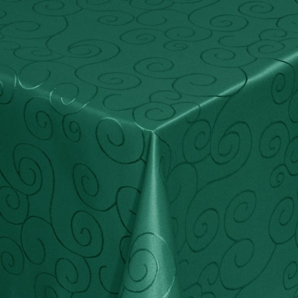 Tischdecken Damast Eckig mit Saum Ornamente Dunkel-Grün