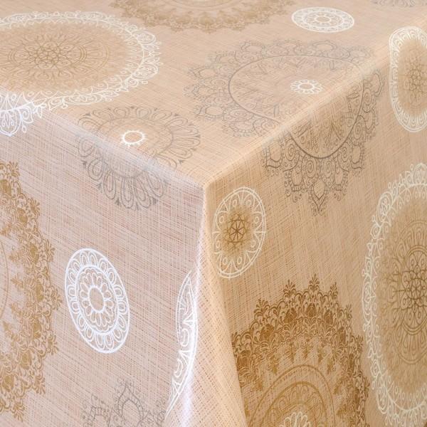 Tischdecke Abwaschbar Wachstuch Ornamente Motiv Beige im Wunschmaß