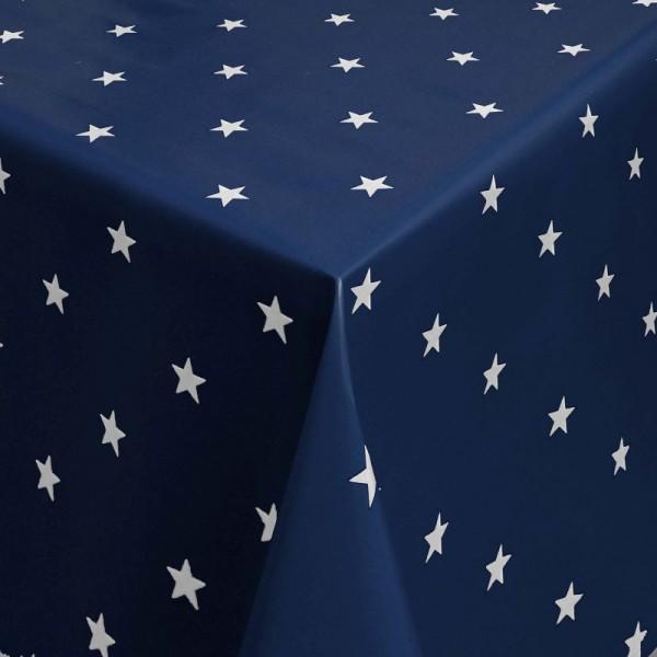 Tischdecke Abwaschbar Wachstuch Weihnachten mit Sternen Blau-Weiss