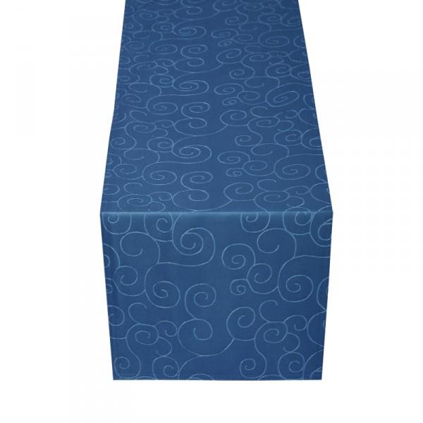 Tischläufer Tischband Ornamente in Dunkel-Blau