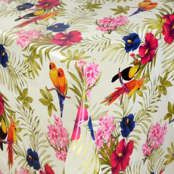 Tischdecke Abwaschbar Wachstuch Exotische Vögel Motiv im Wunschmaß