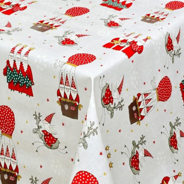 Tischdecke Wachstuch Weihnachten Lebensmittelecht Wichtel Weiss Rot