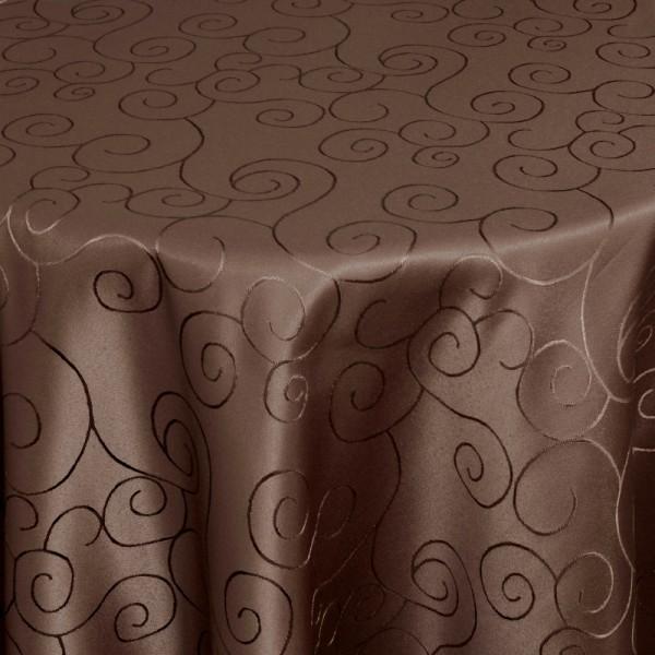 Tischdecken Damast Oval mit Saum Ornamente Dunkel-Braun