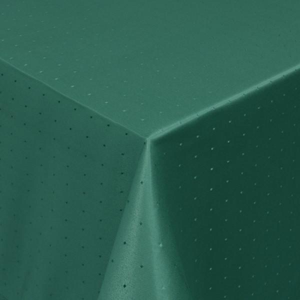 Tischdecken Damast Eckig mit Saum Punkte Dunkel-Grün