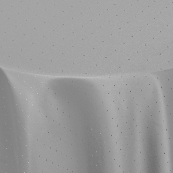 Tischdecken Damast Rund mit Saum Punkte Grau