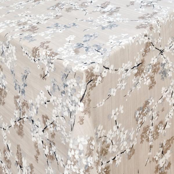Tischdecken Ravenna 100% Baumwolle Kirschblüten mit Fleckschutz Beige