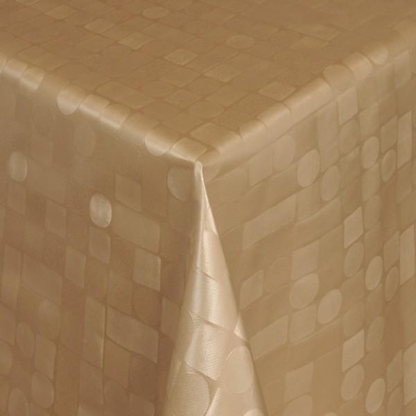 Tischdecke Abwaschbar Wachstuch Relief Karos Kreise Gold im Wunschmaß