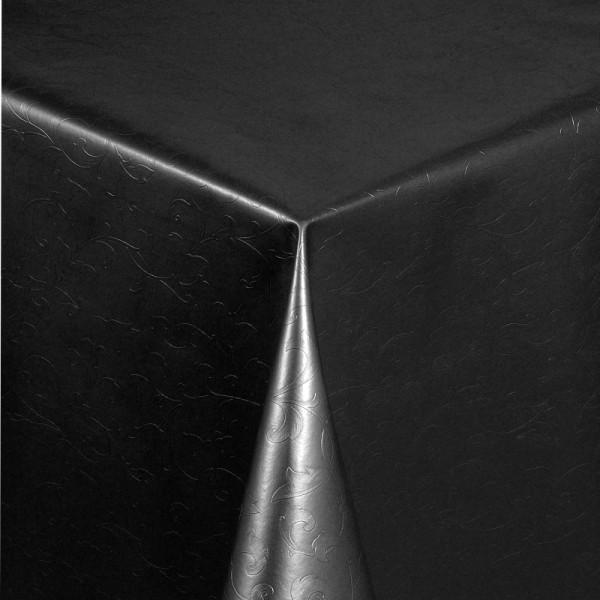 Tischdecke Abwaschbar Wachstuch Relief Blumenkelche Schwarz Wunschmaß