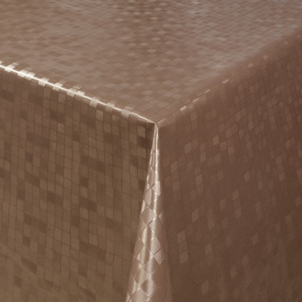 Tischdecke Abwaschbar Wachstuch Relief Quadrate Braun im Wunschmaß