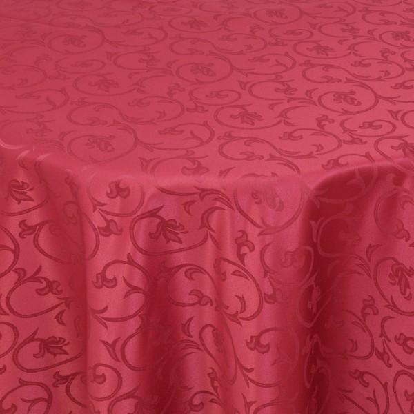 Tischdecken Damast Rund mit Saum Barock Wein-Rot