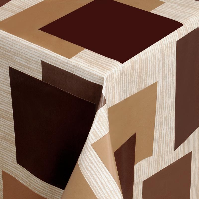 tischdecke abwaschbar wachstuch vierecke braun beige im wunschma. Black Bedroom Furniture Sets. Home Design Ideas