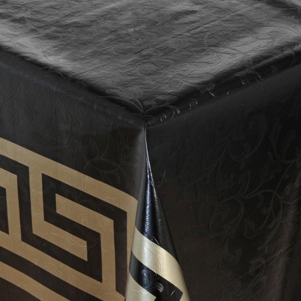 Tischdecke Abwaschbar Wachstuch Griechische Bordüre Schwarz Gold Wunschmaß