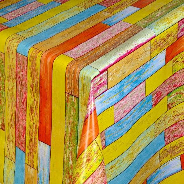 Tischdecke Abwaschbar Wachstuch Rechtecke Gelb Blau im Wunschmaß
