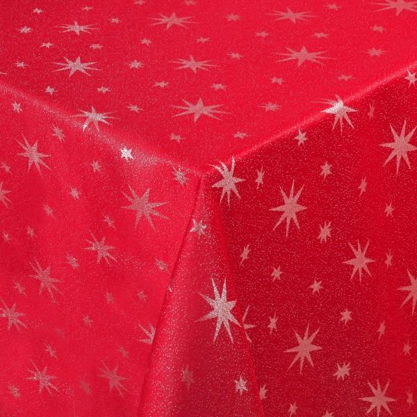 Weihnachtstischdecke Lurex-Sterne mit Glanzeffekt Rot