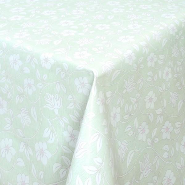 Tischdecke Abwaschbar Wachstuch Blumenranken Grün Weiss im Wunschmaß
