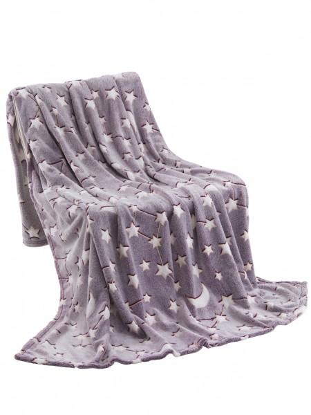 Kuscheldecke leuchtende Flanell Decke 150x200 cm mit Sternen in Beere