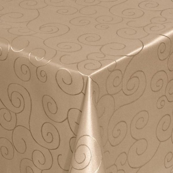 Tischdecken Damast Eckig mit Saum Ornamente Hell-Braun