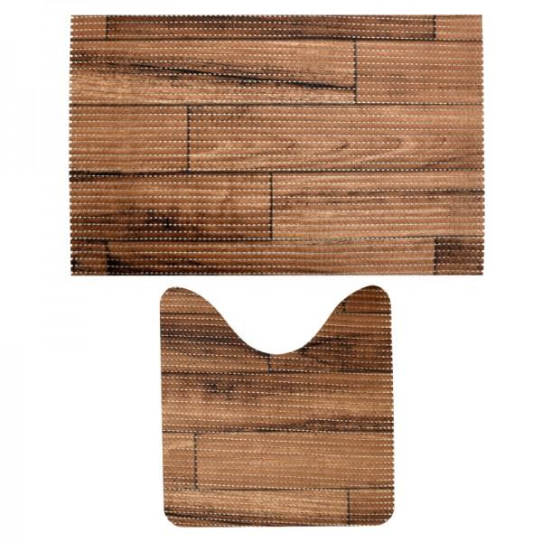 Badvorleger Badematten Badgarnitur Weichschaum Holz Motiv Braun