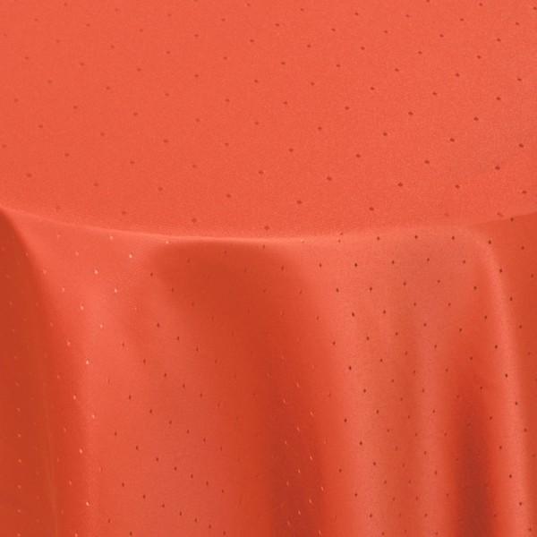 Tischdecken Damast Rund mit Saum Punkte Orange