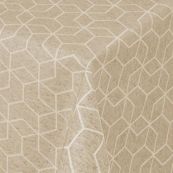 Tischdecken Jacquard-Gewebe mit Fleckschutz und Saum Lorca in Beige