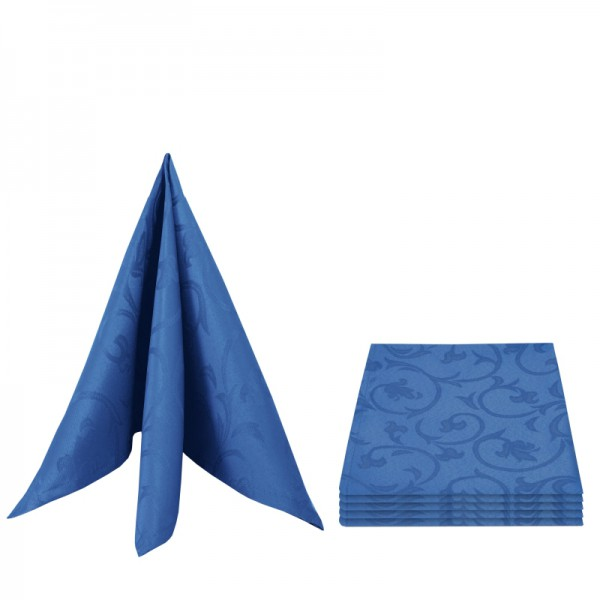 Servietten Damast Barock 50x50 Dunkel-Blau (6er Pack)