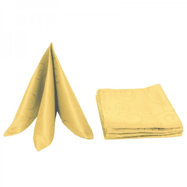Servietten Damast Ornamente 50x50 Dunkel-Gelb (6er Pack)