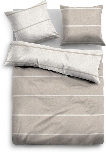 Bettwäsche Tom Tailor Melange-Flanell mit Streifen in Beige