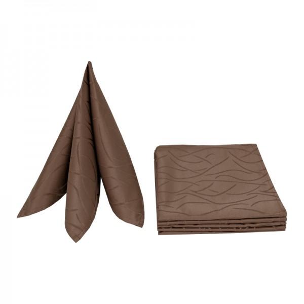 Servietten Damast Streifen 50x50 Dunkel-Braun (6er Pack)