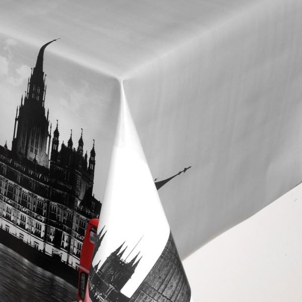 Tischdecke Abwaschbar Wachstuch London Bus Rot im Wunschmaß