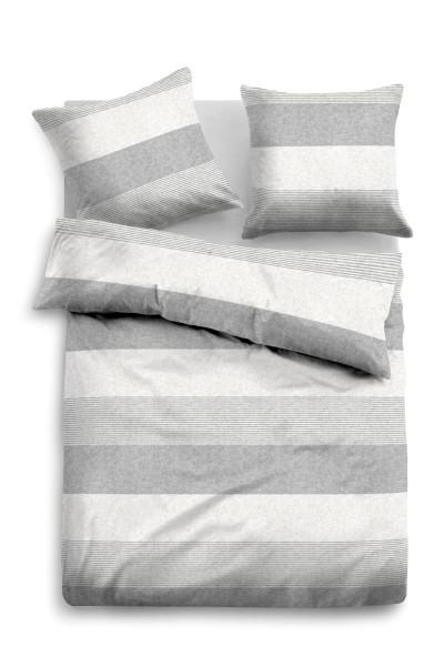 Bettwäsche Tom Tailor Melange-Flanell Streifen Motiv in Grau