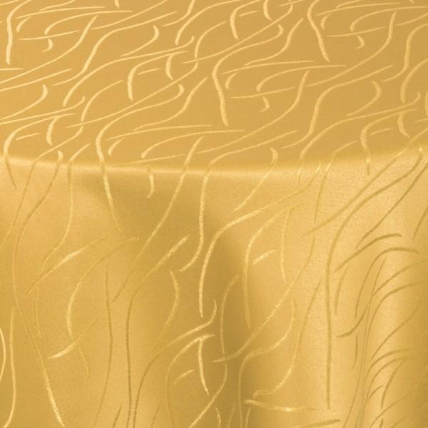 Tischdecken Damast Oval mit Saum Streifen Dunkel-Gelb